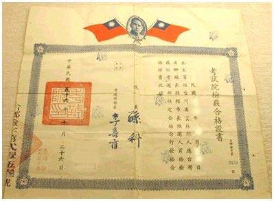 公職候選人檢核證書(民國五十六年)