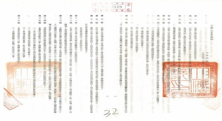 公務人員考試法(共兩張)